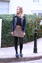 leopard print Topshop skirt - leather Zara jacket - black Topshop top