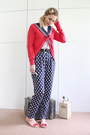 Red-h-m-cardigan-river-island-pants-nautical-primark-flats