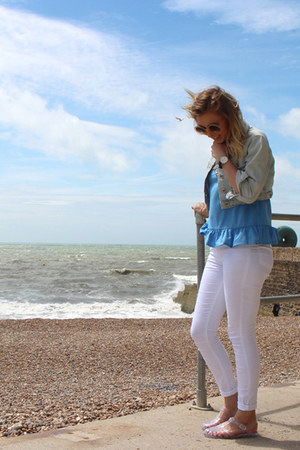 white Topshop jeans - cropped denim Topshop jacket - peplum warehouse top