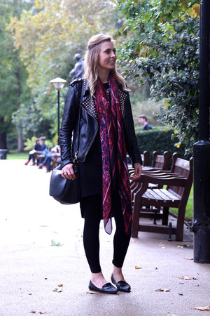 leather Zara jacket - tshirt River Island dress - H&M scarf - asos flats