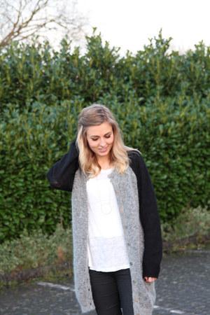raglan asos cardigan - black Topshop jeans - white H&M top