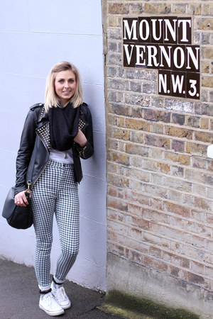 gingham Topshop jeans - studded leather Zara jacket - white Converse sneakers