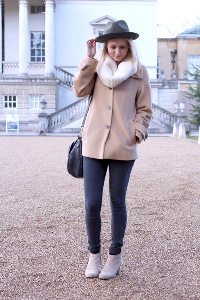 camel jaeger coat - studded Zara boots - olive fedora Topshop hat