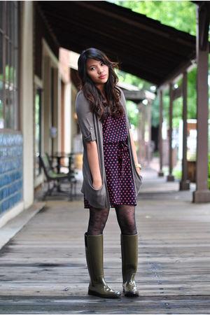 Ann Taylor Loft cardigan - H&M dress - Michael Kors boots - Michael Kors accesso