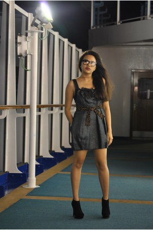 BCBG Maxazria Runway dress - retrosuperfuture glasses - Steve Madden boots