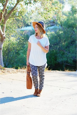 floppy hat Anthropologie hat - brown lace up boots Steve Madden boots