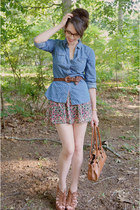 salmon floral Forever 21 skirt - sky blue Forever 21 shirt - brown belt