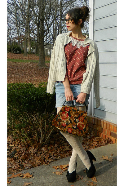maroon purse - maroon polka dot Catworld sweater - ivory sweater