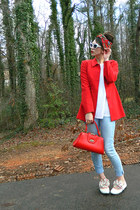 red blazer - light blue jean legging Levis jeans - white sweater