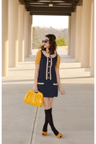 gold Candies purse - navy shift monteau dress - black knee-high merona socks