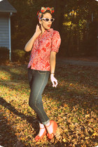navy skinny H&M jeans - red gifted paisley shirt - white cat eye sunglasses