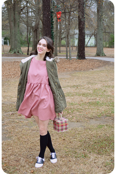 pink smock THE WHITEPEPPER dress - olive green Charlotte Russe jacket