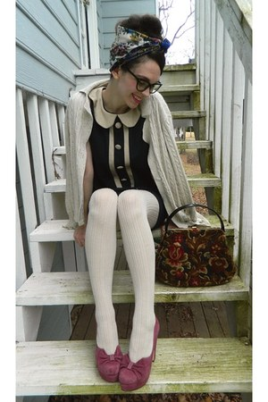 ivory sweater - navy monteau dress - ivory sweater merona tights