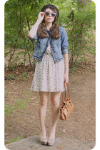 sky blue denim American Eagle jacket - ivory ice cream print Forever 21 dress