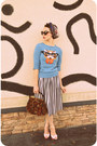 Sky-blue-cat-eyeglasses-louche-sweater-maroon-inherited-purse