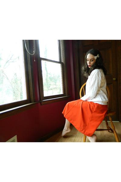 white talbots sweater - red vintage skirt - white felt hair bow accessories