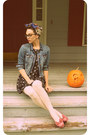 Black-cat-print-sweet-rain-dress-blue-denim-american-eagle-jacket