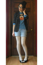 sky blue cat eyeglasses Louche sweater - black polka dot Forever 21 blazer
