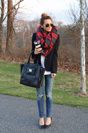 red plaid Zara scarf - blue citizens of humanity jeans - black blazer H&M blazer