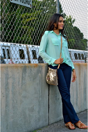 aquamarine H&M blouse - tan RED valentino bag - burnt orange Aldo flats