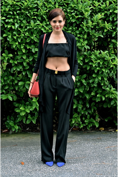 black Mango pants - black Zara top - black ted baker cardigan