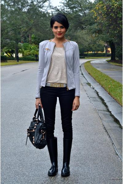 black Burberry boots - silver P luca jacket - black balenciaga purse