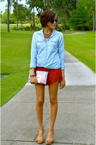 sky blue American Eagle shirt - ruby red Forever 21 shorts