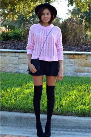 black Aqua hat - bubble gum hm sweater - black BCBG bag - black Zara skirt