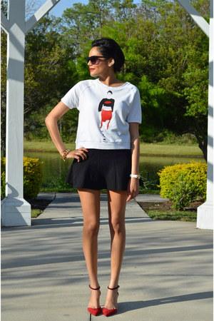 white Zara sweatshirt - black H&M skirt - ruby red Zara heels