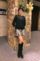 gold sequins Express skirt - black Vince Camuto boots - black Kookai sweater