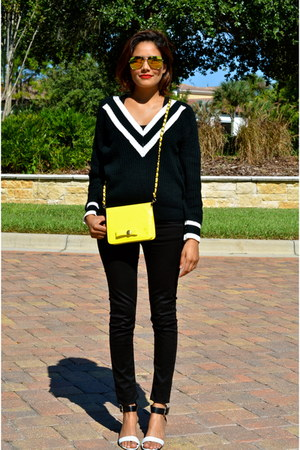 black Zara jeans - black Lookbook Store sweater - yellow Darling Clothes bag