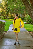 yellow cape dress Zara dress - black BCBG purse - black Minelli heels