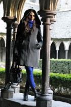 black Minelli boots - gray Zara coat - blue Uniqlo jeans - black balenciaga bag