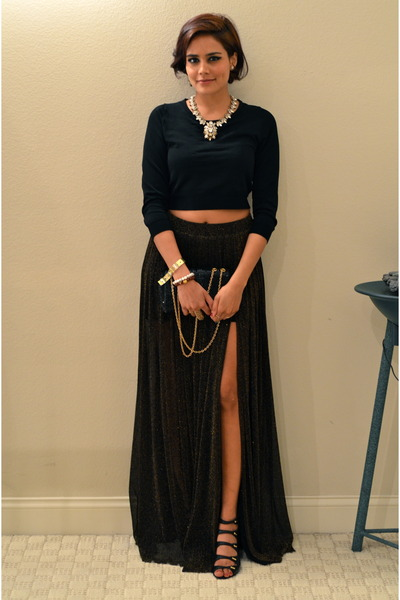 black Urban Outfitters skirt - silver J Crew necklace - black Express top