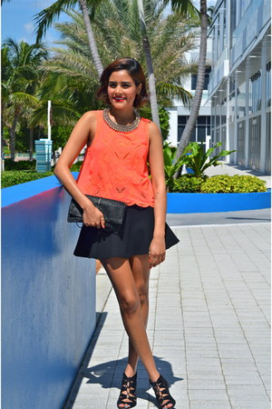 carrot orange Lush Clothing top - black Zara skirt