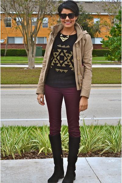 black Vince Camuto boots - crimson Zara jeans - black Marc Jacobs sunglasses