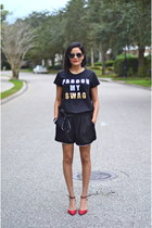 black H&M t-shirt - ruby red Zara heels