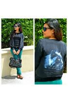 green Zara jeans - black balenciaga bag - black Zara blouse - tawny Aldo flats