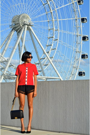black Chanel bag - black Forever 21 shorts - ruby red Alices Pig top