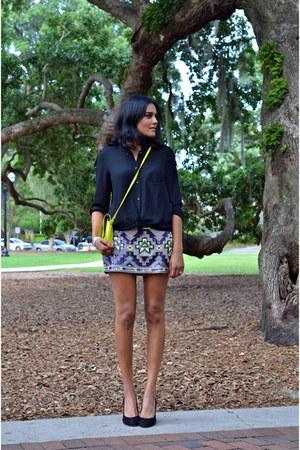chartreuse Express skirt - chartreuse Zara bag - black stuart weitzman heels