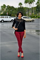black Kookai sweater - brick red Zara jeans - ruby red Zara heels