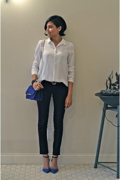 blue Minelli bag - white Zara shirt - navy Zara heels