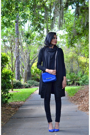 blue Minelli bag - blue Juicy Couture heels - black Zara cardigan