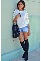 black stuart weitzman boots - white Lookbook Store sweater
