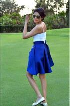 blue PAPER London skirt - white H&M top