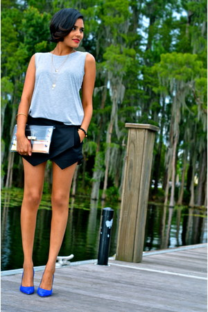 white Chicwish bag - black Zara shorts - silver sixtwenty top