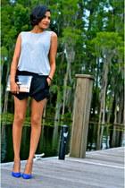 white Chicwish bag - black Zara shorts - silver sixtwenty top