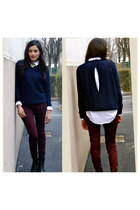 navy Zara sweater - crimson Zara jeans - white Zara shirt