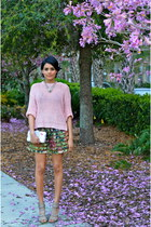 olive green Zara skirt - pink Love Culture sweater