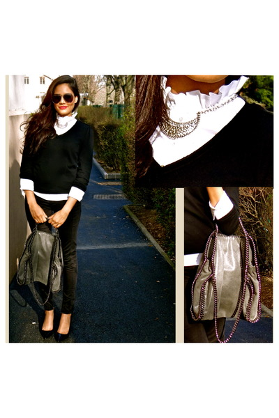 white Zara shirt - black Zara jeans - heather gray Stella Mc Cartney bag